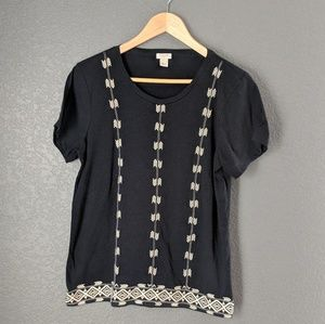 J. Crew Embroidered Black T-Shirt size Large